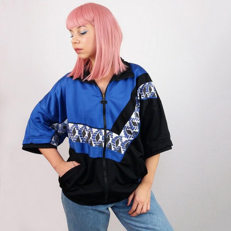 4b319b8fd3 Vintage 90 s Unisex Short Sleeves Track Jacket Blue Black