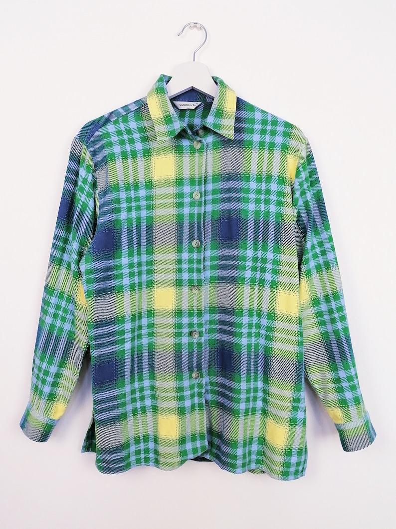 Vintage 80/'s 90/'s HAMMERLE Plaid Shirt Blue Turquoise Checks Button-up Oversized Blouse Flannel Women/'s Shirt