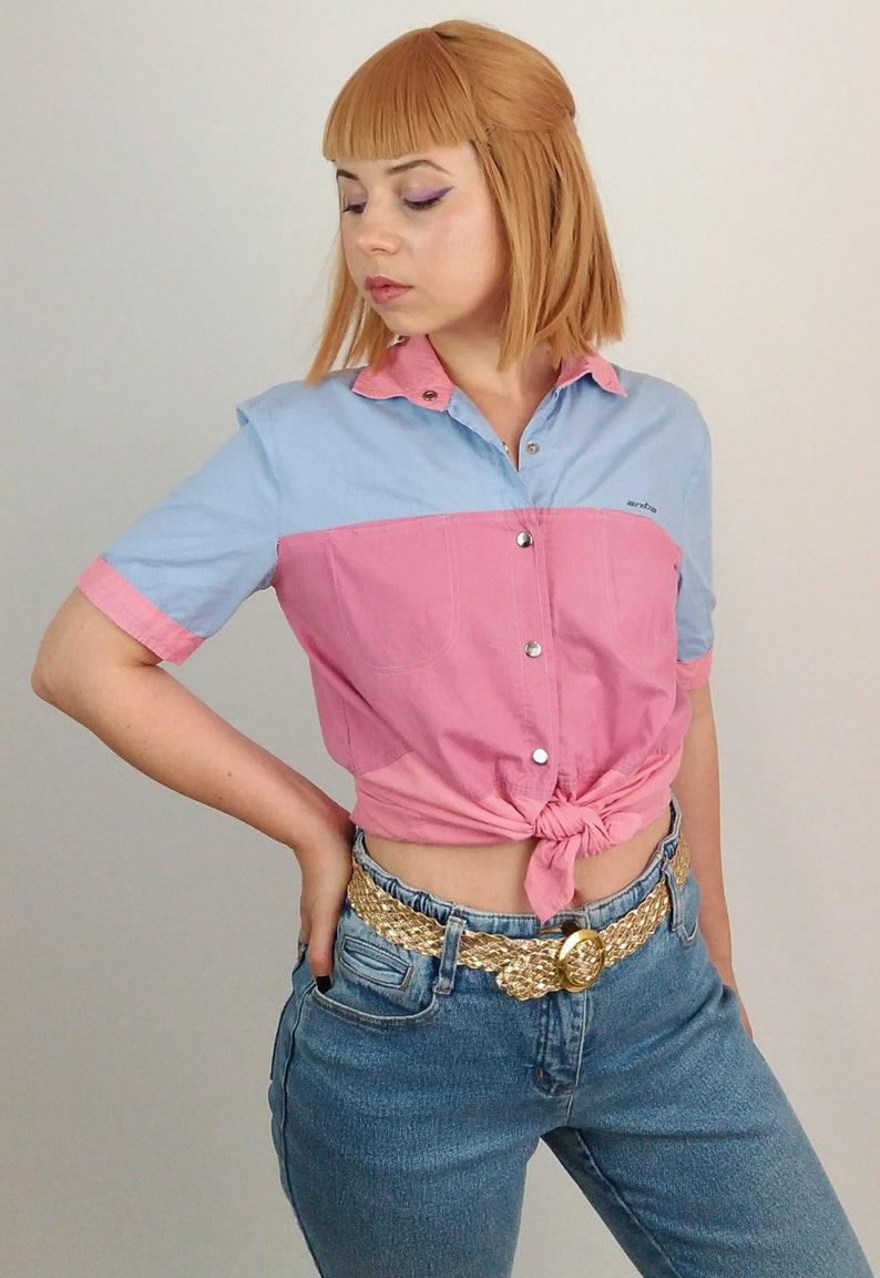 516db44e2bfdf3 Vintage 80 s Diner Colour Block Snaps Shirt   Blouse   Top