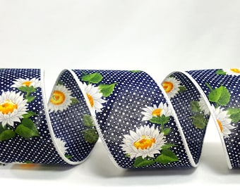 """2.5"""" Daisies & Dots Wired Ribbon ~ Blue Ribbon with White Daisies and Mini Dots ~ Thick, 100% Cotton ~ For Wreaths / Home Decor ~ 3 Yards"""