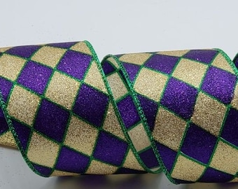 f079d9443 Wired Mardi Gras Ribbon - 2.5 inch Purple   Gold Glitter Harlequin Pattern  Outlined in Green ~ 5 Yards