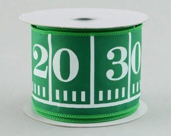 2.5 inch Wired Football Ribbon ~ Green Football Field Marker Ribbon ~ Ribbon for Sports Wreaths ~ Boys Bedroom Decor Ribbon ~ 3 Yards