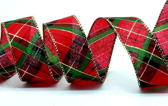 Dark Green and Gold Christmas Tartan Check Ribbon 1.5 inches wide x 10yds Red