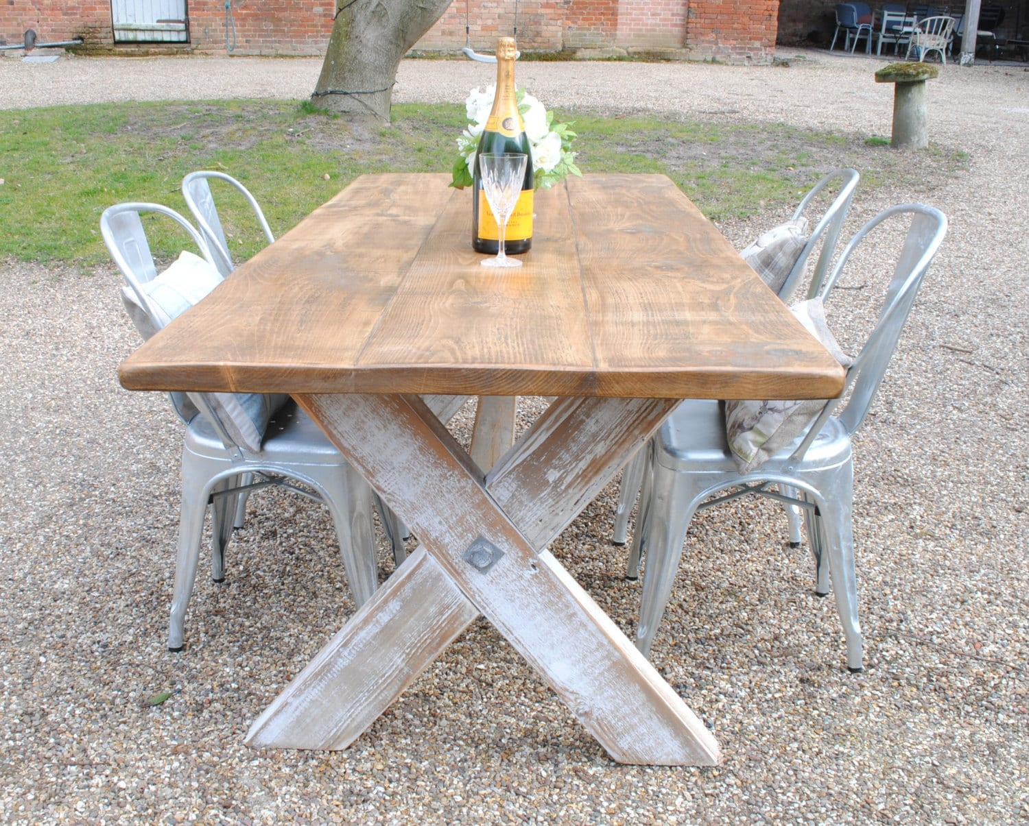 X Frame Rustic Reclaimed Wood Hand Made Dining Table Etsy