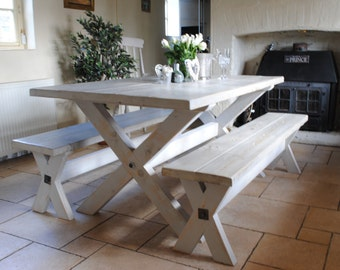 X Frame Rustic Reclaim Wood Hand Made Dining Table with Paint Effect