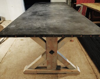 Handmade Zinc Top Dining Table with Reclaimed Materials