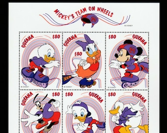 Disney Mickeys Team On Wheels 6 Postage Stamp Sheet Mickey Mouse Donald And Daisy Duck Goofy Skate Board Roller Skates Blades Guyana