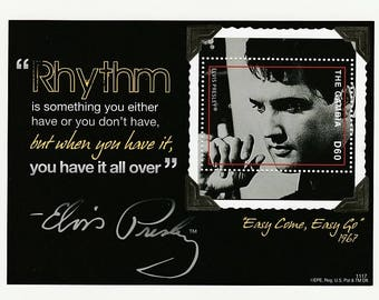 Elvis Presley Stamp-Easy Come Easy Go Movie-Rock and Roll Music Star-Gambia Postage-Collectible Souvenir Sheet-Craft Supplies-Scrapbooking