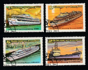 Russian Ship- 4 Stamps-Russia 1981 Postage-Tanker and Cruise Ships-Complete Set Scott #4957-60-Passenger Maritime Shipping-Paper Ephemera