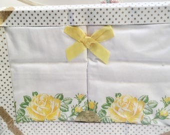 Set of two unused vintage  pillowcases: pretty yellow rose pillow cases/ pillow slips  in their  original box - stylish and useful.