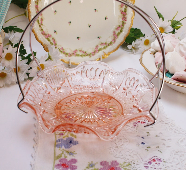 Pretty Little Pressed Glass Basket Glass