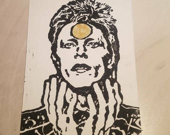Original Block Print - Starman - David Bowie