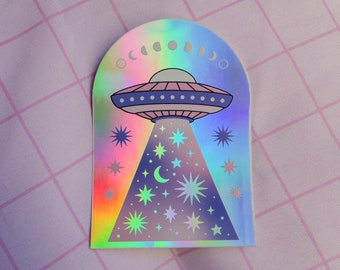 Ufo sticker - holographic sticker - galaxy - cosmic sticker - space - planets - moon phases