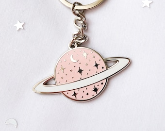 Pink planet keychain - hard enamel keychain - space - Saturn - planet with stars and moon
