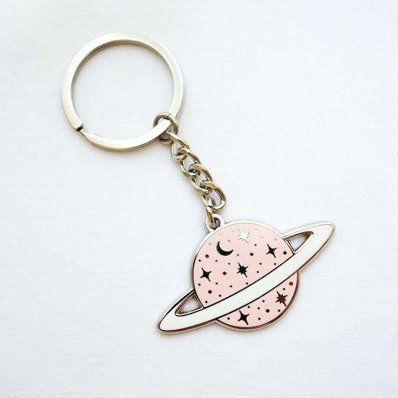 1 x Superbe Espace Planètes Saturne Fun-Porte clés-IP02-Maman Papa Enfants Cadeau #2842