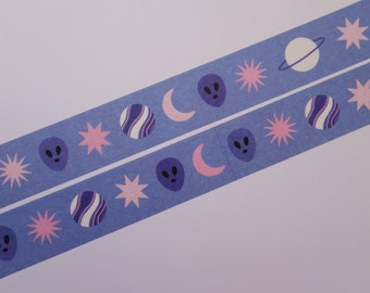 Little things from space washi tape - masking tape - galaxy - space - stars - stationery - bujo - planets - moon - Saturn