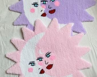 Sun and Moon rug - handmade - tufting rug