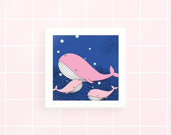 Whale with three eyes - Fantastic - Digital Illustration - Gift for her/him - Drawing