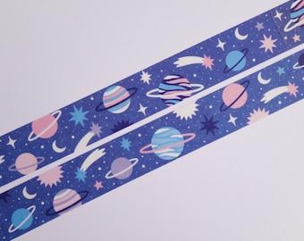 Galaxy washi tape - masking tape - galaxy - space - planets - moon - stars - stationery - bujo