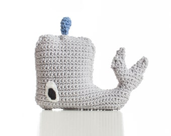 handmade, crochet, cotton Baby Whale rattle,  grey, baby toy, newborn, designer, whale, baby rattle, birth present, baby shower