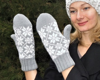 Gray knitted mittens wool latvian mittens winter lined mittens wool knit mittens womens knit mittens women wool mittens winter accessories