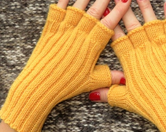 Knitted fingerless gloves mitts knitted gloves fingerless knit fingerless mittens yellow gloves car accessories boho wool gloves