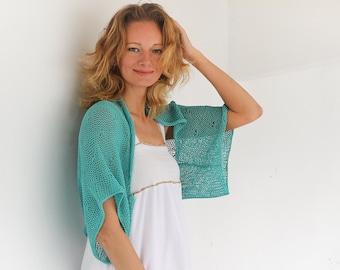 Turquoise shrug bolero coverup hand knit bolero shrug jacket short sleeve bolero plus size women shrug cotton knit shrug women summer shrug
