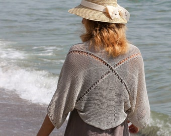 Beach loose shrug knit loose bolero summer women loose bolero jacket knit cotton cardigan women summer cardigan gray bolero gray beach shrug