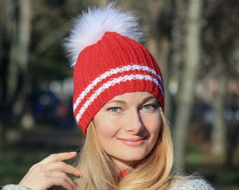 Luxury raccoon fur hat adult raccoon pom pom hat women scarlet red hat knit santa hat knit christmas hat adult santa hat santa claus hat