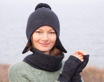 01419046b15 Women ear flap hat scarf gloves set knit earflap hat knit pom pom beanie  wool fingerless gloves winter ear flap beanie dark gray neck warmer