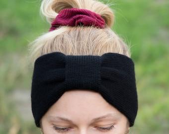 Knit headband black headband womens headband yoga headband adult headband turban headband boho headband wool head band knit hair band wool
