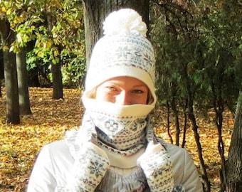 Women gift set cashmere wool hat pom knit hat nordic snood winter mitten ear flap hat winter beanie white scarf neck warmer fingerless glove