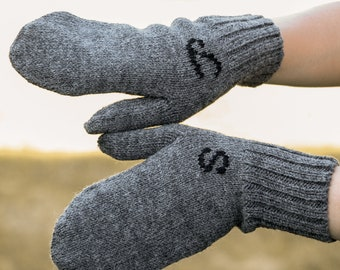 Knit wool mittens personalized gift women crochet arm warmers winter men gray embroidered gloves initial monogram custom mittens handmade