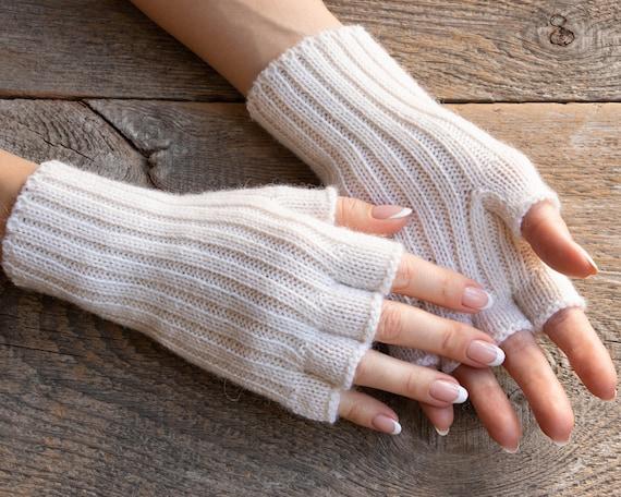 White alpaca gloves women fingerless gloves ivory white gloves women wool gloves half finger gloves women hand knit gloves white men gloves