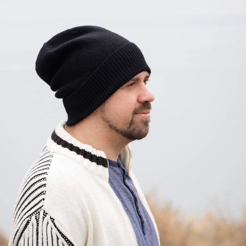 13f48883c7c0a Wool men beanie hat lightweight beanie black men beanie knit