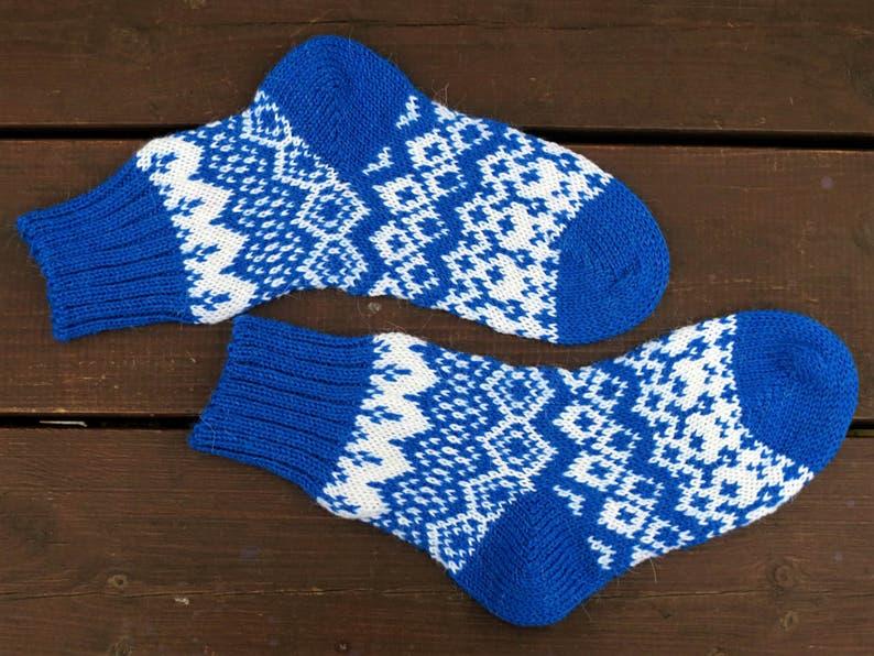 b6ae0190571 Alpaca wollen sokken blauw Kerstsokken alpaca sokken mannen | Etsy