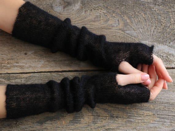 donna top design prodotti di qualità Maglia da polso nero lana nero sposa guanti manicotti mohair nera goth  strega di halloween guanti accessori gotici gomito guanti a maglia
