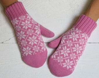 Nordic pink mittens christmas mittens womens mittens hand knit mittens crochet mittens double mittens womens mitts thumb mittens knit mitts