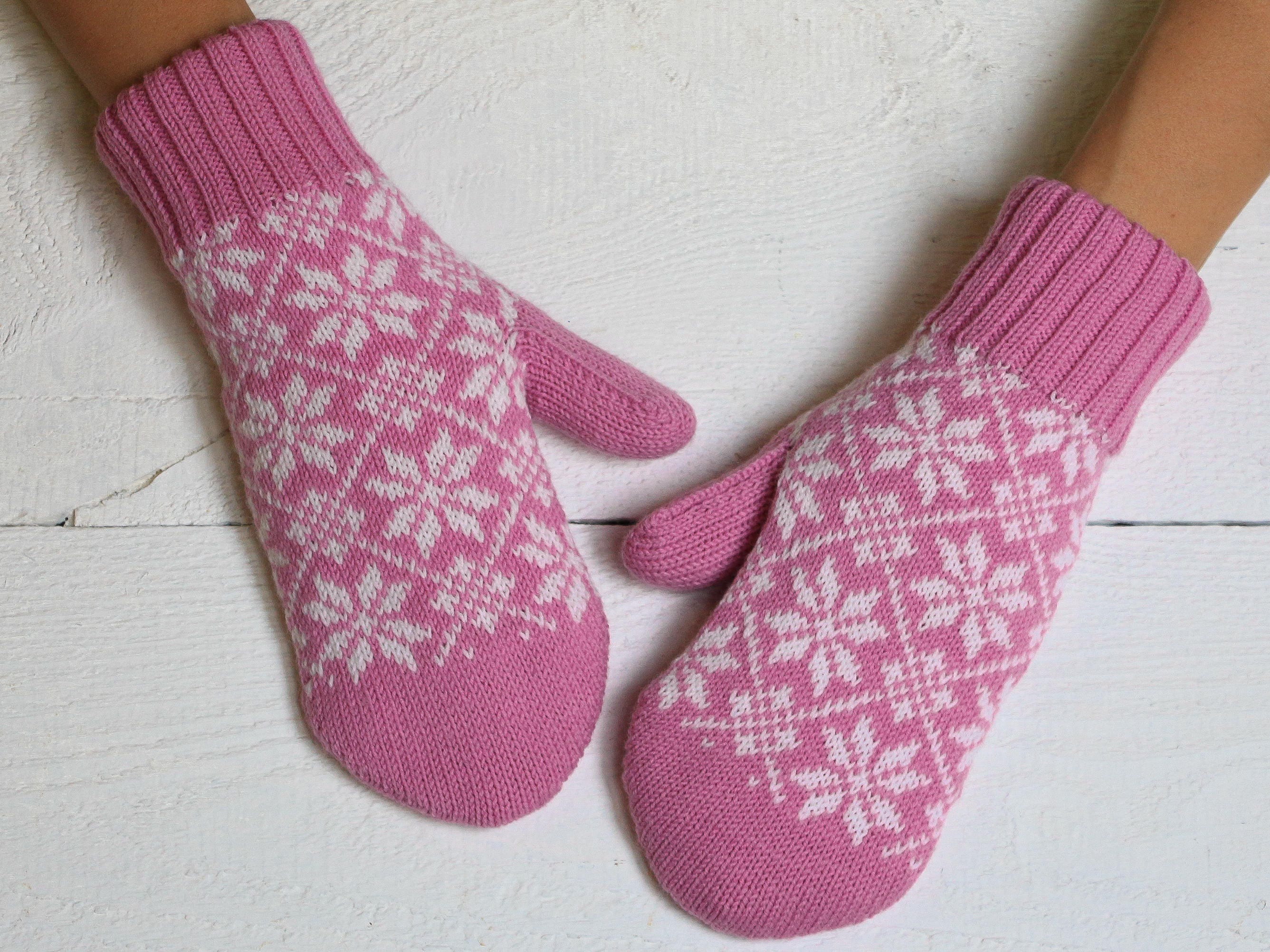 Nordic Pink Mittens Christmas Mittens Womens Mittens Hand -5692