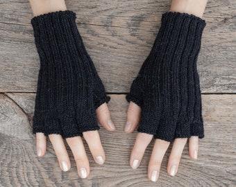 Knit fingerless gloves Alpaca merino wool arm warmers women black gloves men winter half finger gloves handmade crochet handknit accessories