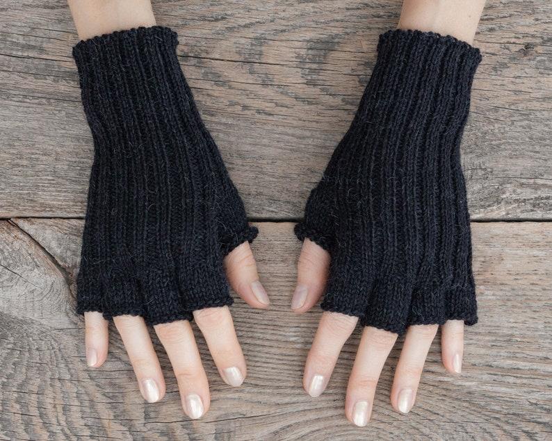Knit fingerless gloves Alpaca merino wool arm warmers women Black