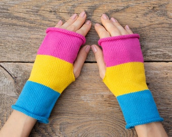 Cotton fingerless gloves blue yellow pink gloves knit womens gloves knit lgbt gloves organic cotton gloves pansexual pride pan pride lgbtq