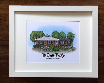 Custom House Portrait | Hand Drawn Illustration of your Home | Realtor Gift | Gift for New Homeowner | Moving Announcement | House Painting