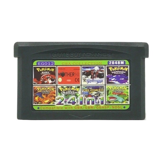 24 in 1 Gameboy Advance GBA Multicart Pokemon Castlevania Zelda Metroid  Ruby Emerald Sapphire FireRed LeafGreen Nintendo - Free Shipping!