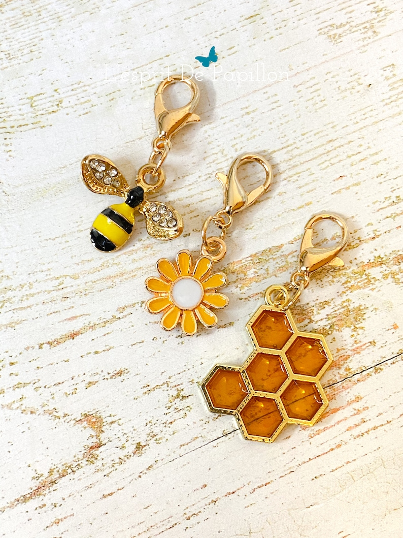 bumble been- bee Bee charms enamelled bee charms progress keepers crochet stitch marker knitting honey bee