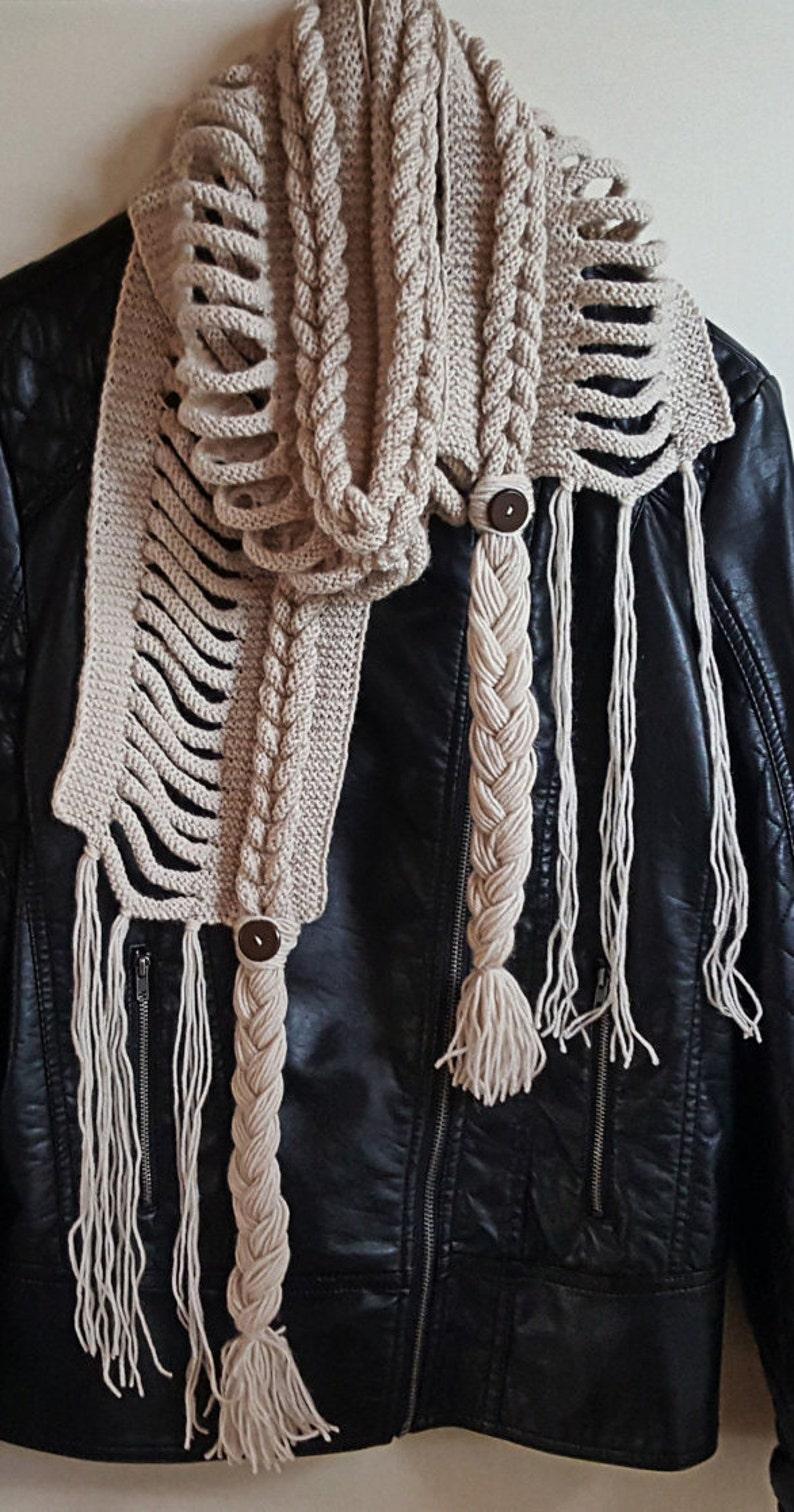daab69e1e9fe76 Ausverkauf Hand stricken Rapunzel Wolle Schal geflochten | Etsy