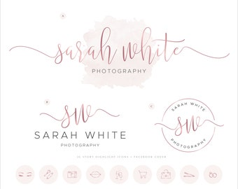 Photography Logo Design Business Branding Package, Premade Rose Gold Logo, Watercolor Photography Logo, Logo Bundle