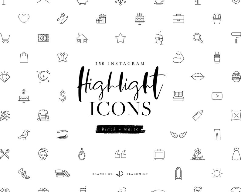 250 Black & White Instagram Highlight Icons, Story Highlight Icons Branding  Kit for Beauty, Fashion, Style, Wedding, Fitness and Lifestyle