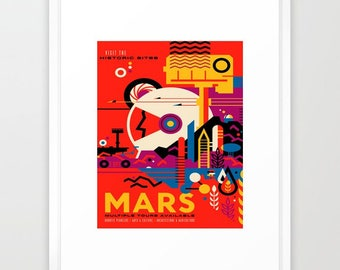 Original art prints and reproductions by rockettgraphics on etsy giclee art print nasajpl fantasy tour of mars frame it yourself and save update your home or office decor solutioingenieria Image collections