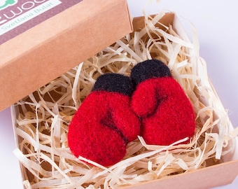 exclusive wool brooch red boxing gloves brooch stylish handmade felted accessory unique christmas gifts nice christmas holiday party outfit - Nice Christmas Gifts